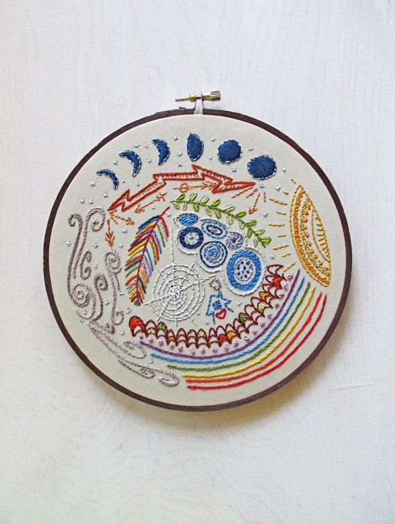 FULL CIRCLE - pdf embroidery pattern, hand embroidery, stitching sampler, doodle stitching design, color lovers, rainbow, moon and stars