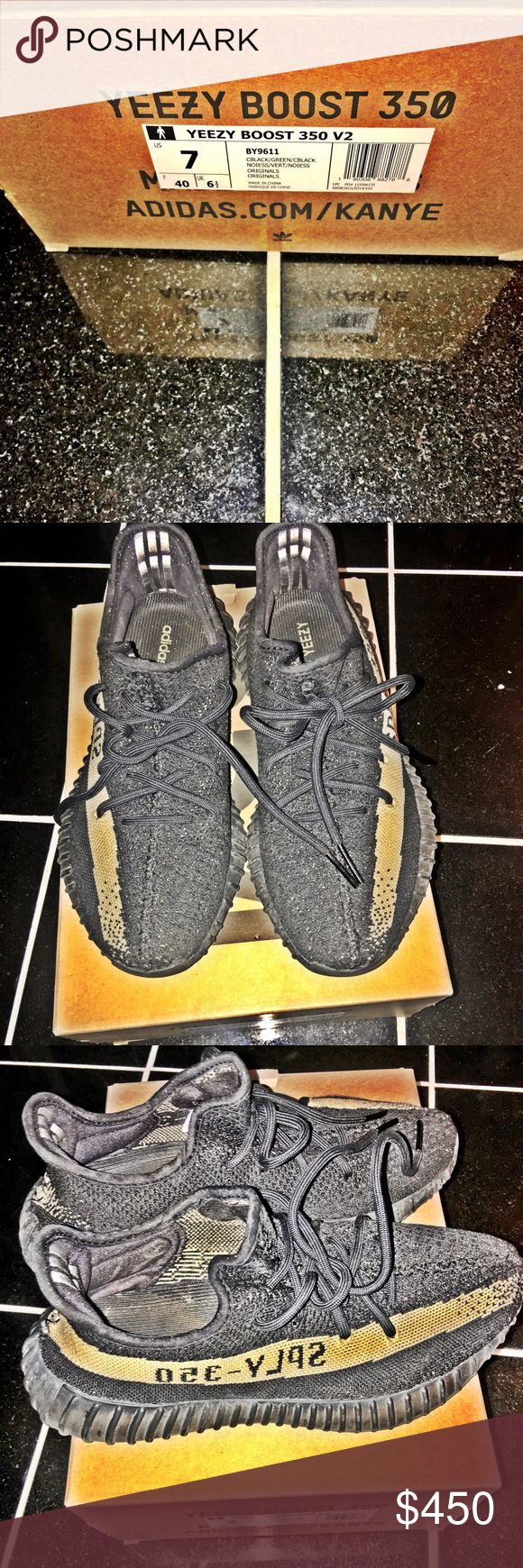 Adidas Yeezy Boost Black/Army green fits true to size worn a number of times .. AUTHENTIC!!! So don't ask I have the receipt STILL! No low ballers thank you.. Adidas Shoes Sneakers