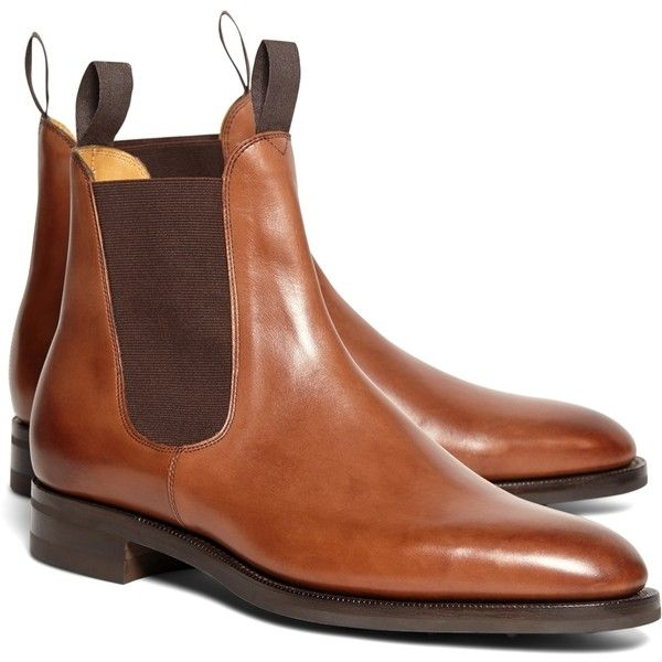Brooks Brothers Edward Green Newmarket Chelsea Boots (6.480 RON) ❤ liked on Polyvore featuring men's fashion, men's shoes, men's boots and brown