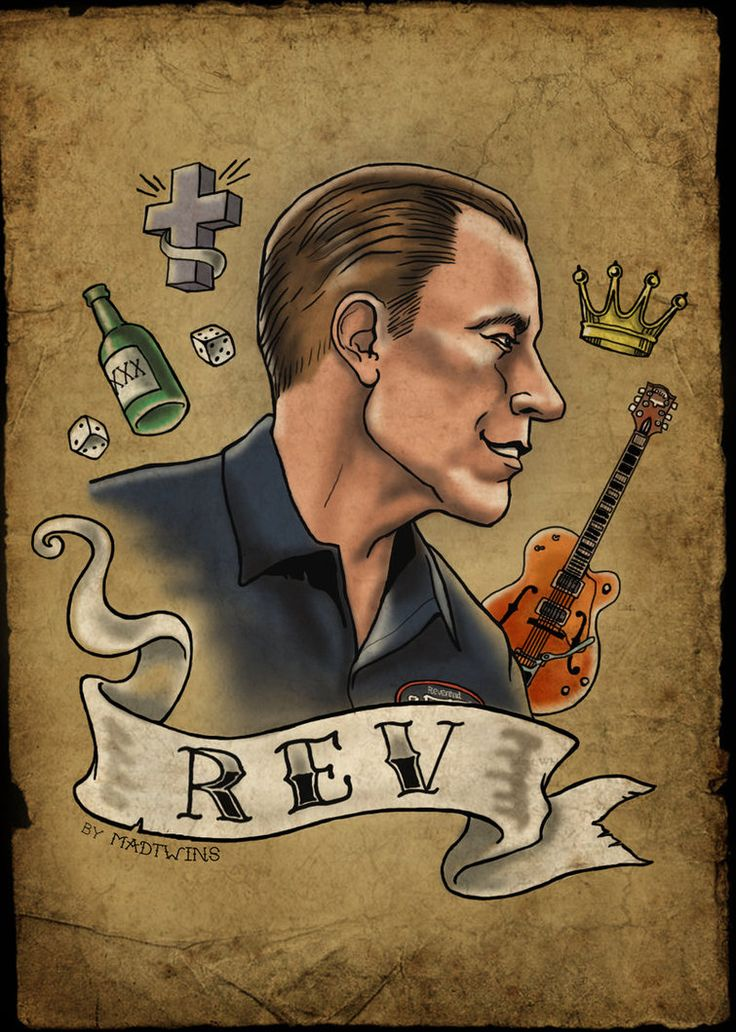 Love this! Don't miss Reverend Horton Heat LIVE in Vancouver on March 10! Tickets: http://www.ticketfly.com/event/1008137  Jim Heath of the  Reverend Horton Heat tattoo style by Mad Twins