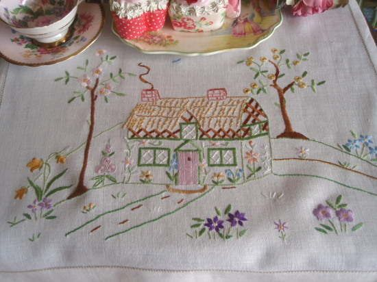 Stunning Vintage Embroidered Cottage and Garden Cloth