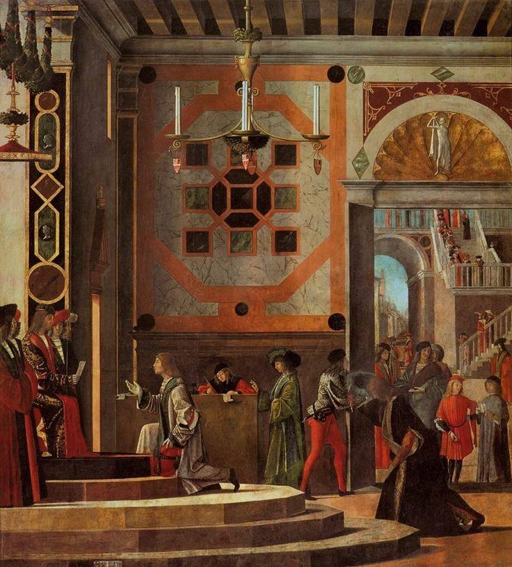 """Vittore Carpaccio (1465 – 1525/26) """"King Maurus dismissing the ambassadors/Re Mauro congeda gli ambasciatori"""" (1495/1500), Oil on canvas, 280 x 253 cm, Gallerie dell'Accademia, Venezia"""