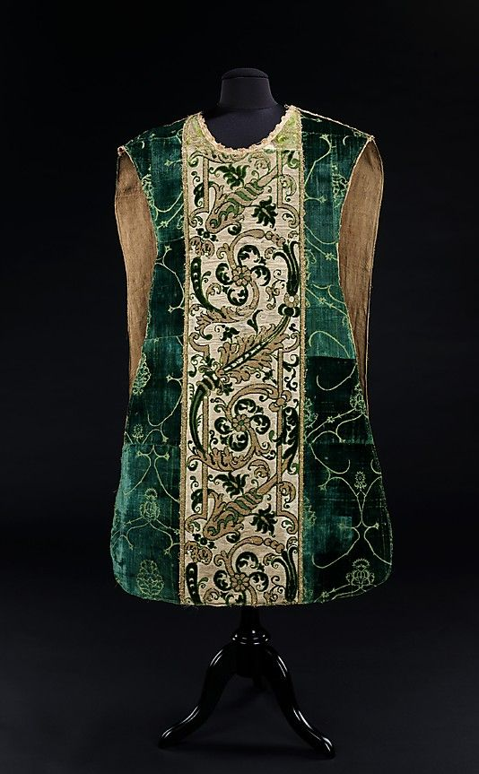 Chasuble (outermost liturgical vestment worn by clergy)  Date: fourth quarter 15th century Culture: Italian   Medium: silk, metal   Dimensions: Length at CB: 47 in. (119.4 cm)