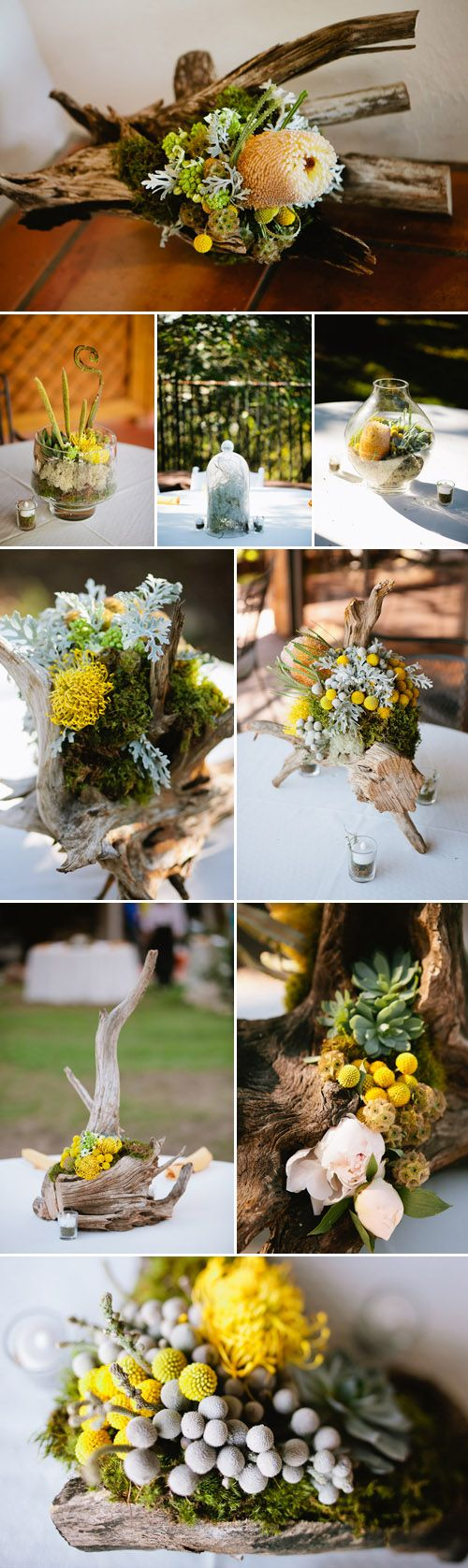 #driftwood #centerpieces  Great construction ideas. Picture with a splash of color or each piece of driftwood having a few small pops of the favorite flowers scattered, designed or one pop on them