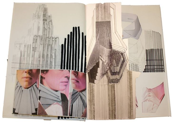 Fashion Sketchbook - architecture inspired fashion design; fashion portfolio