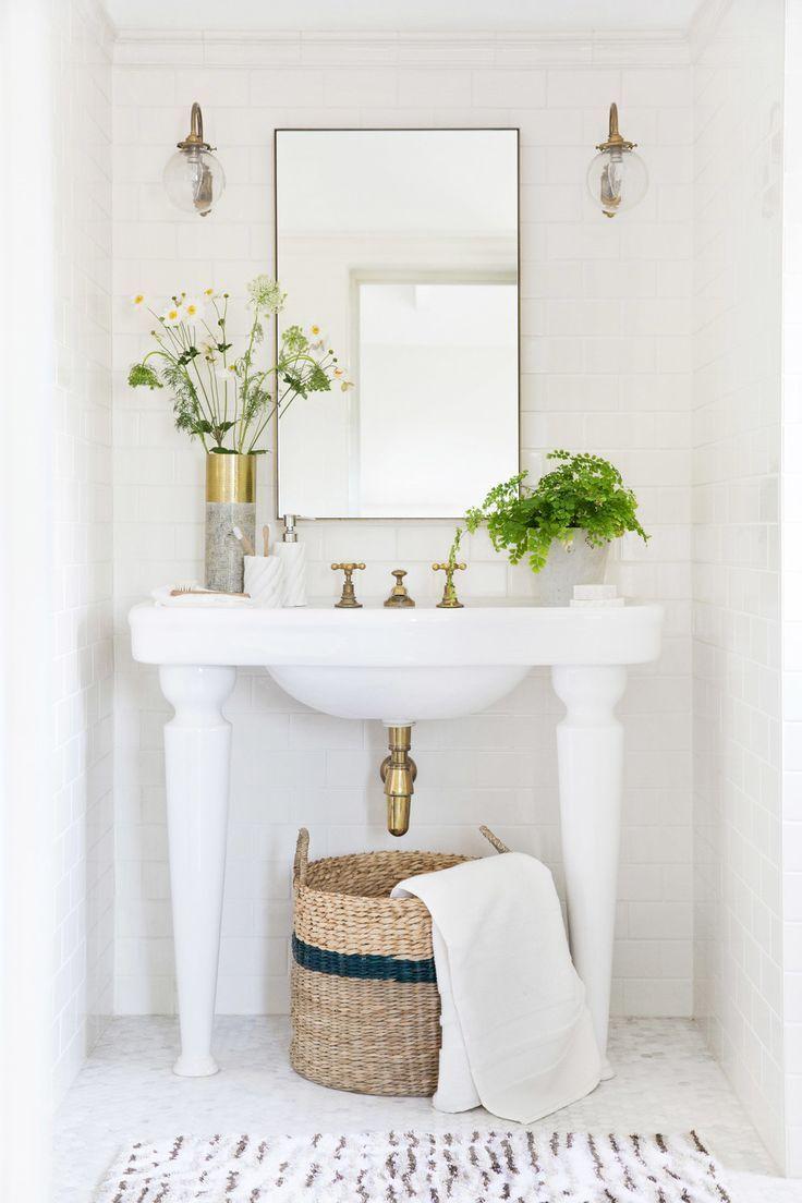 A by Amara Greenhouse White Botanical Bathroom Ideas love the lights especially