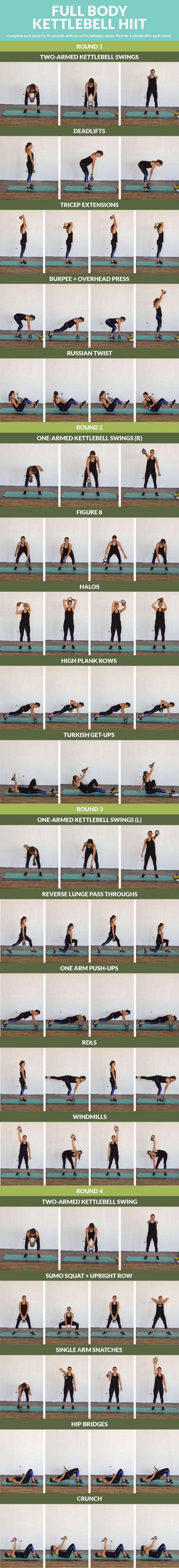 Strengthen your entire body with this 20 minute cardio and strength kettlebell combo! Mix up your regular workout routine with these fun, yet effective kettlebell exercises. You'll tone multiple mu… #kettlebells
