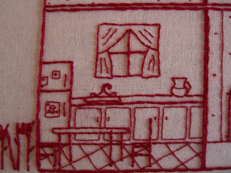 I want to do this!  1109 Poplar house cross section hand embroidery by juneatnoon, $15.00