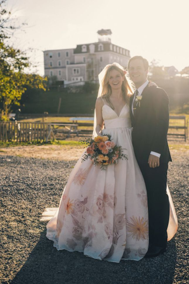 This nontraditional wedding dress is beautiful.