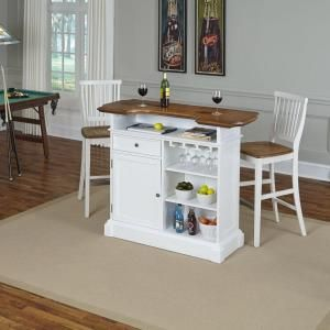 Home Styles Americana 4-Shelf Portable Bar with 2 Stools in White 5002-998 at The Home Depot - Mobile