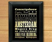 ON SALE Amsterdam, Netherlands, Typography Art Poster / Bus / Transit / Subway Roll Art 8X10-Amsterdam's Attractions Wall Art Decoration-LH