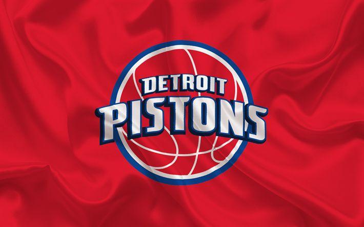 Scarica sfondi basket, Detroit Pistons, Basket club, NBA, USA, emblema, logo, di seta rossa