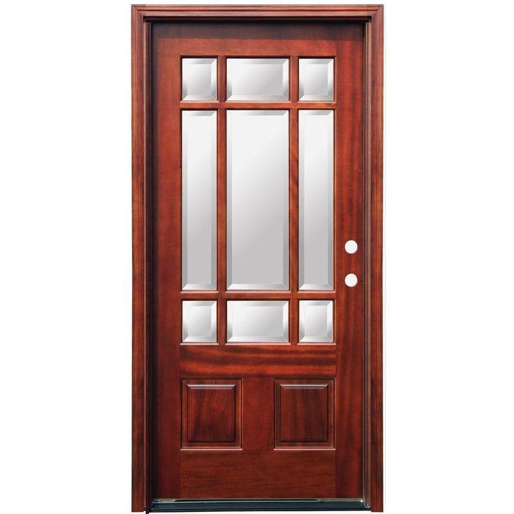 Craftsman 9 lite stained mahogany wood entry door for 9 lite wood exterior door