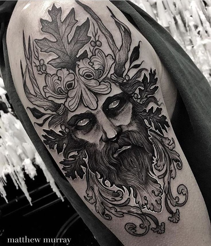 """1,508 Likes, 11 Comments - Matthew Murray (@mattwmurray) on Instagram: """"until all the valleys of the world have been withered away."""" Green Man tattoo"""