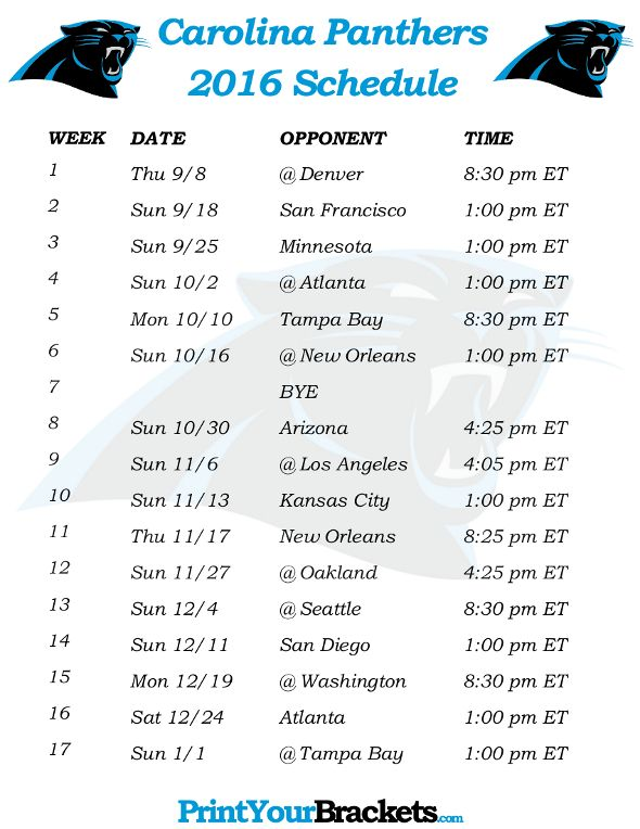 Printable Carolina Panthers 2016 Football Schedule