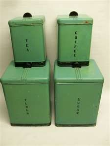 Art Deco Kitchen Canisters In Green.
