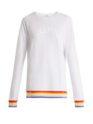 For a piece that will put you in a positive mood for your workout, opt for The Upside's lightweight white cotton-jersey Rainbow sweatshirt. It's emblazoned with the label's logo across the chest, and finished with standout multicoloured stripes at the ribbed-jersey cuffs and hem. Pair it with the matching leggings for a look that's streamlined yet playful.