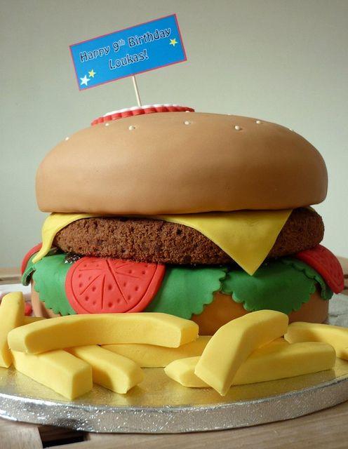 Cheeseburger & Fries birthday cake by The Designer Cake Company