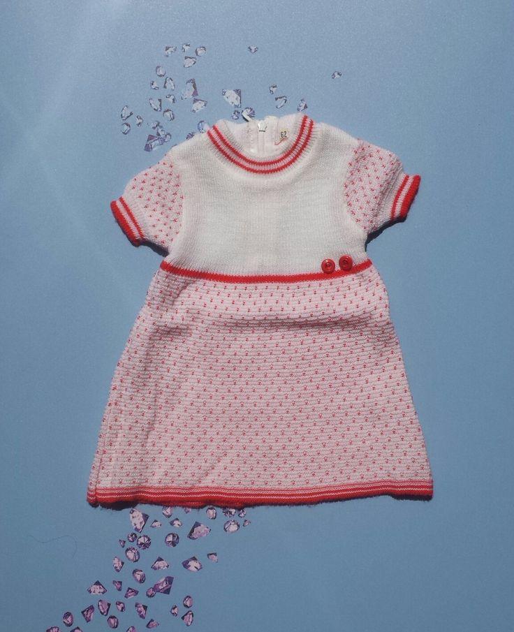 Zomer jurkje polka dots wit en rood gebreid in Nederland nieuwe mint 1960's maat 62 3 maanden baby meisjeskleding babydoll reborn babyshower door Smufje op Etsy