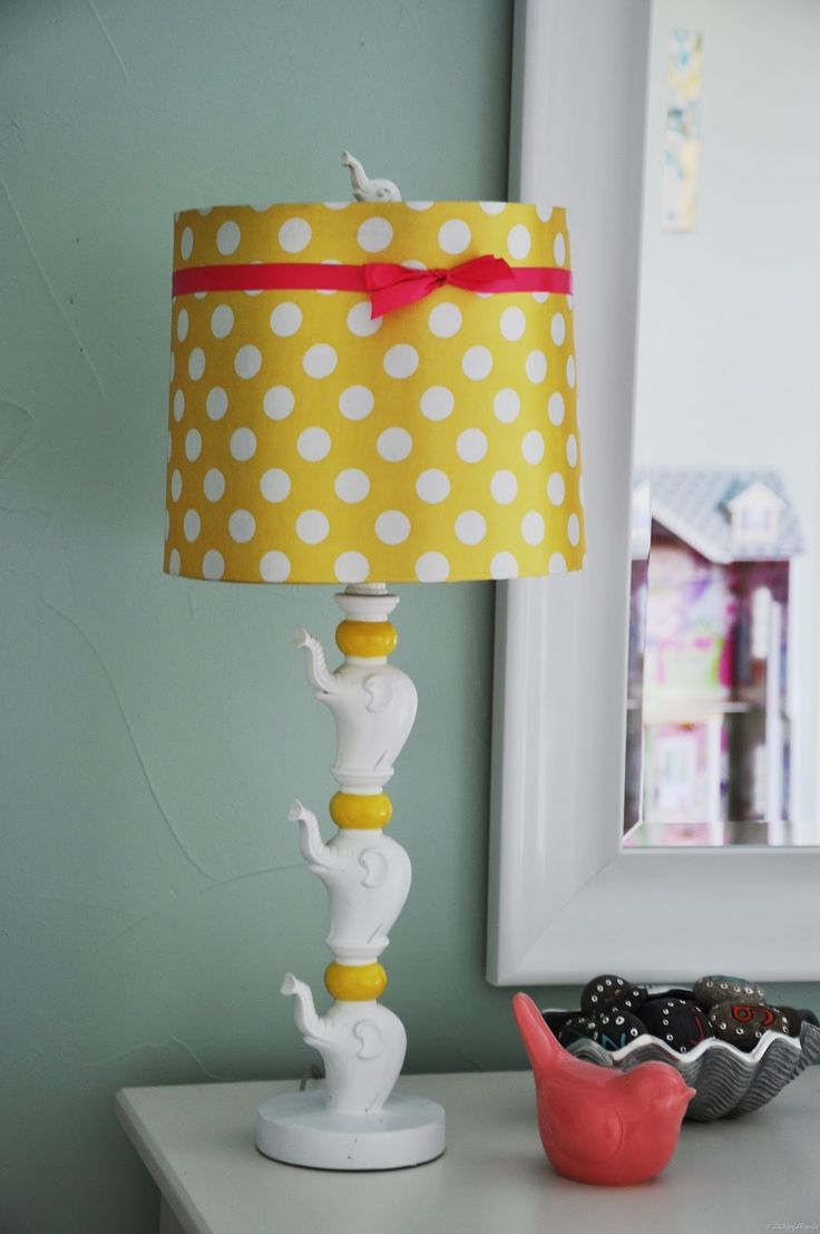 Stacked elephant lamp - Found The Stacked Pachyderms Lamp With The Yellow Polkadot Shade At Home Goods Added The Hot Pink Red Ribbon Now