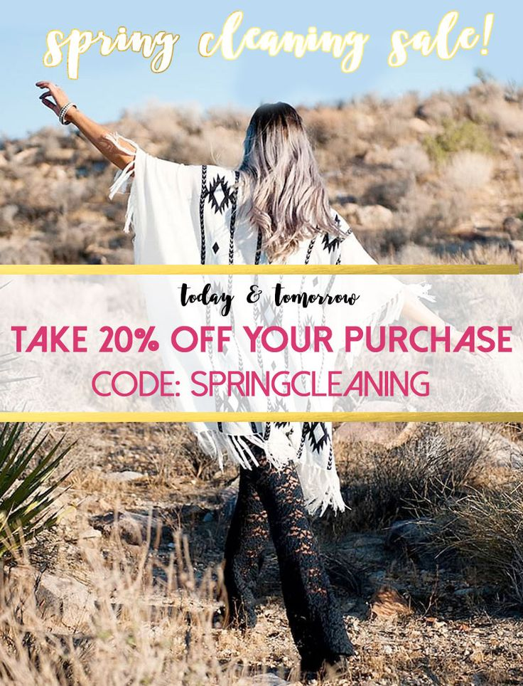 TIME FOR SOME SPRING CLEANING! TODAY & TOMORROW, TAKE 20% OFF YOUR PURCHASE WITH THE CODE SPRINGCLEANING