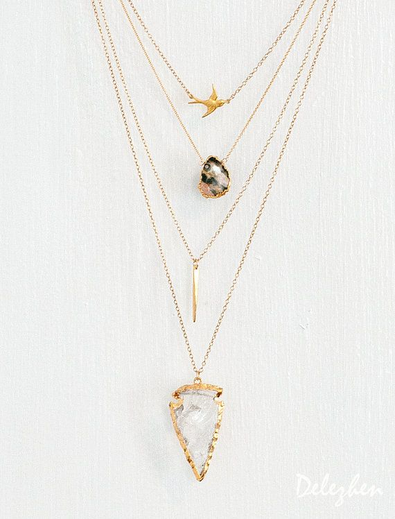 Layered Necklace Set - Set of 4 - Arrowhead Necklace - Layering Necklaces - Gold Necklace - Arrowhead Necklace - Boho Chic - Statement