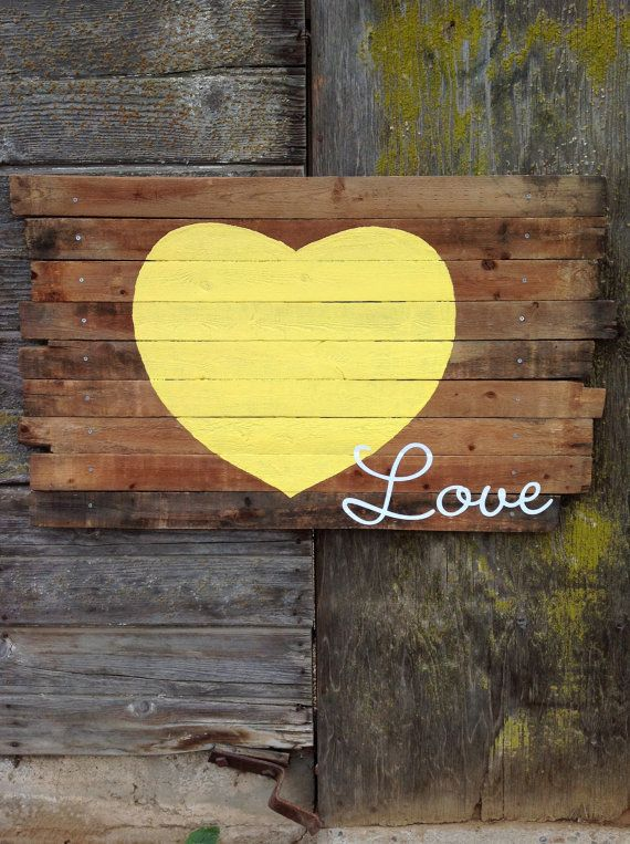 Reclaimed wood love sign yellow heart by AniVintage on Etsy,