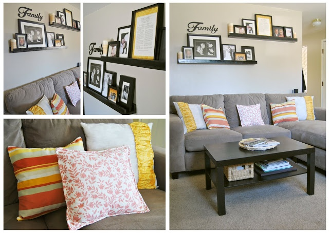 Shelves Above Couch Bright Fun Pillows
