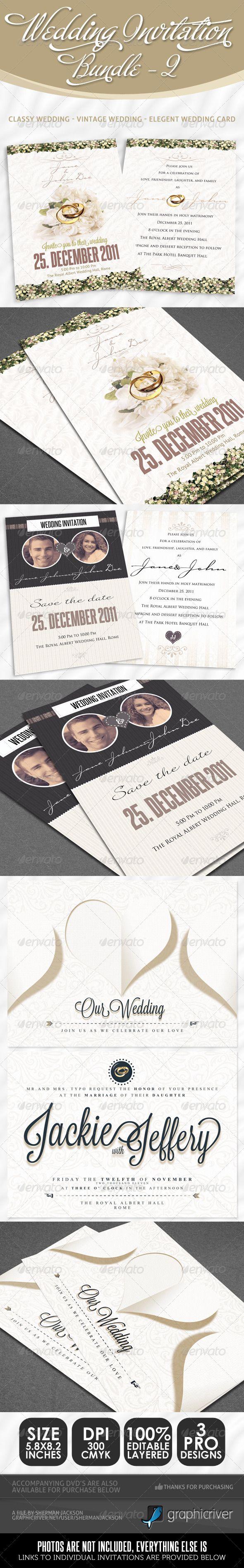 #Wedding Invitation Bundle - Pack 2 - Weddings #Cards & #Invites Download here: https://graphicriver.net/item/wedding-invitation-bundle-pack-2/2653594?ref=alena994