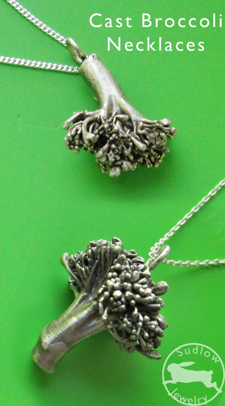 """instead of lost wax casting, these are """"Lost Vegetable Castings""""...made from the real plant and turned into solid recycled sterling silver pendants.   100% organic!"""