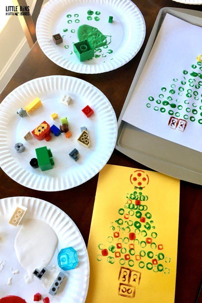 Activiteiten voor Kerst - Zelf kaarten maken - Stempelen met LEGO - LEGO Card Making Activity and Supplies Set Up - Little bins for Little hands