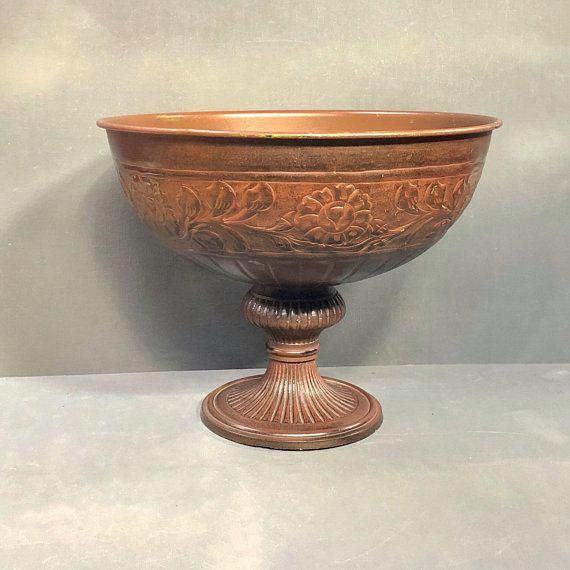 Vintage Bronze Bowl Large Pedestal Bowl Fruit Bowl Punch Vintage Bronze Fruit Bowl Display Vintage Planters