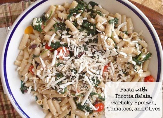 ... Ricotta Salata, Garlicky Spinach, Tomatoes, and Olives #glutenfree