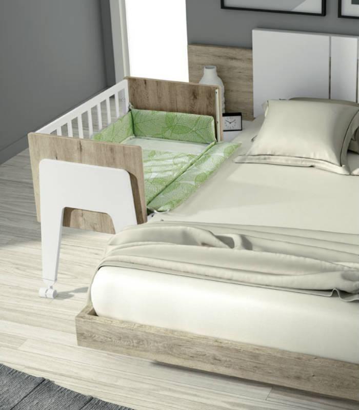 Cunas para dormir en colecho con tu bebé. 8 posiciones de altura para acoplarse a la altura de un colchón. Convertible en mesa