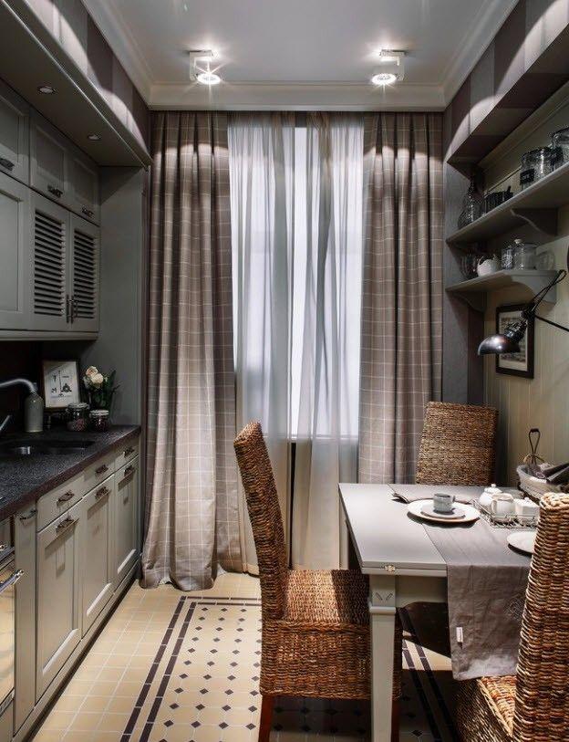 счет платного какие шторы подойдут к коричневой кухне фото они