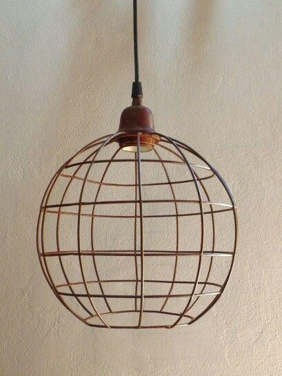 Lampara colgante de alambre hierro casa luminosa for Diseno de muebles de hierro