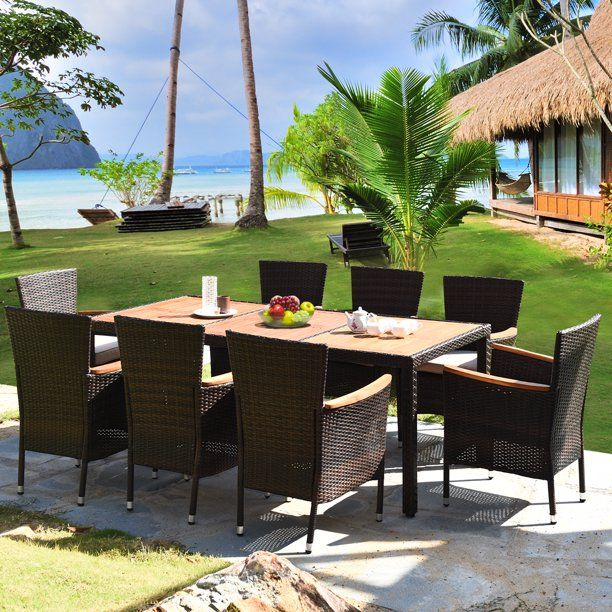 gymax 9pcs rattan patio dining set w 8