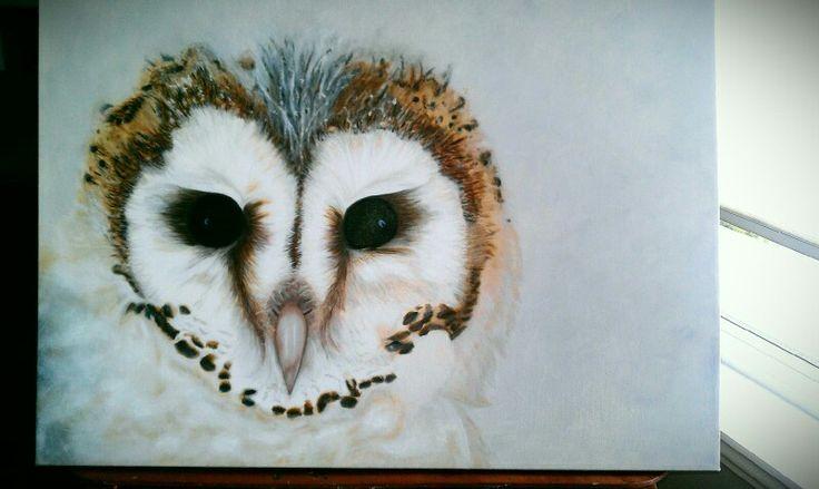 Barn owl - oil painting by denise reichert, easel life.
