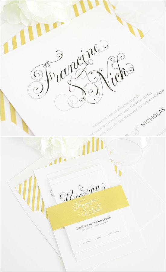 white and gold wedding invites #goldinvitations #stripedinvitations #shineinvitations http://www.weddingchicks.com/2014/01/14/shine-wedding-invitations/