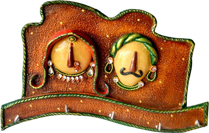Sajawat Bazaar Unique Traditional Multicolour Beautifully Hancrafted Premium Seth Sethani Wooden Key Holder