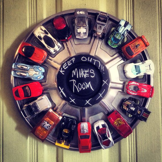 Recycled Upcycled Hub Cap Door Decor on Etsy, $25.00