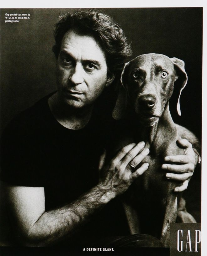 Photographer William Wegman with His Dog Man Ray by Annie Leibovitz for Gap ad campaign.