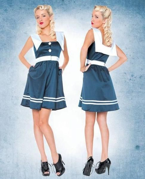 This Rockabilly Pinup dress is perfect for the spring and summer. The Sail Away Nautical Sailor Doll Dress is blue and white and has a middy back. Features butt