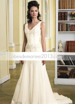 Robe de Noces Col en V Empire Chapelle Mousseline de Soie