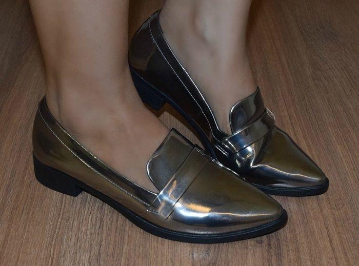 sapato metalizado +tendencia metalizada + slipper + fashion