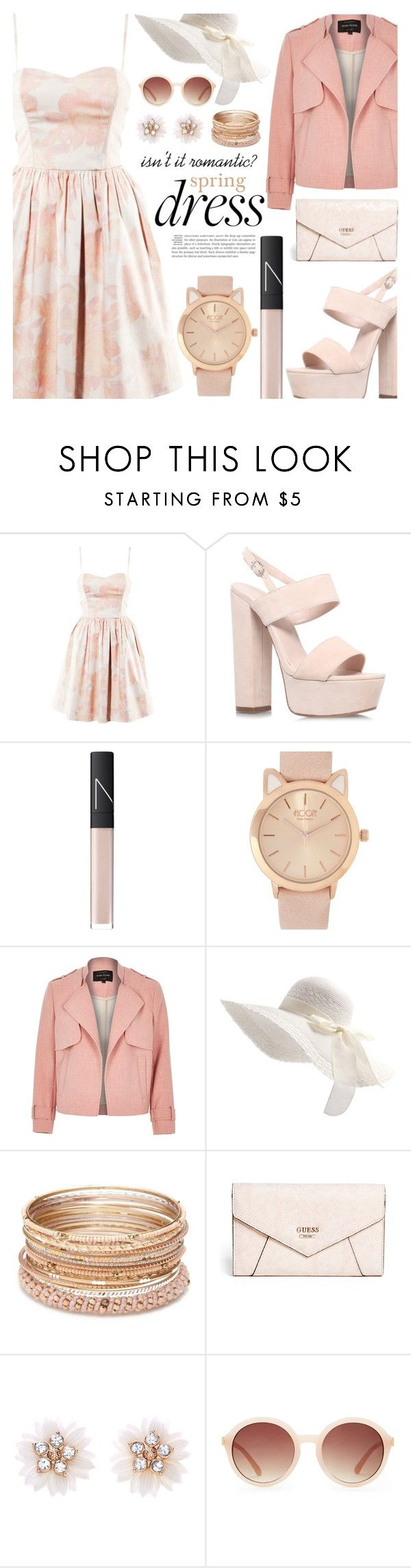 """::spring dresses:: the flirty bustier a-line::"" by sinesnsingularities ❤ liked on Polyvore featuring H&M, Carvela Kurt Geiger, NARS Cosmetics, River Island, Red Camel, GUESS, New Look, Forever 21, girly and contestentry"