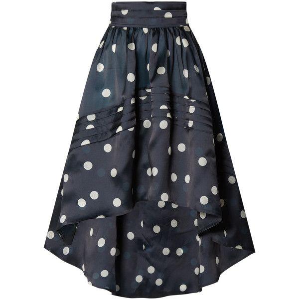 GANNI Asymmetric polka-dot silk-organza skirt ($530) ❤ liked on Polyvore featuring skirts, polka dot skirts, dot skirt, ganni, ganni skirt and asymmetrical skirts