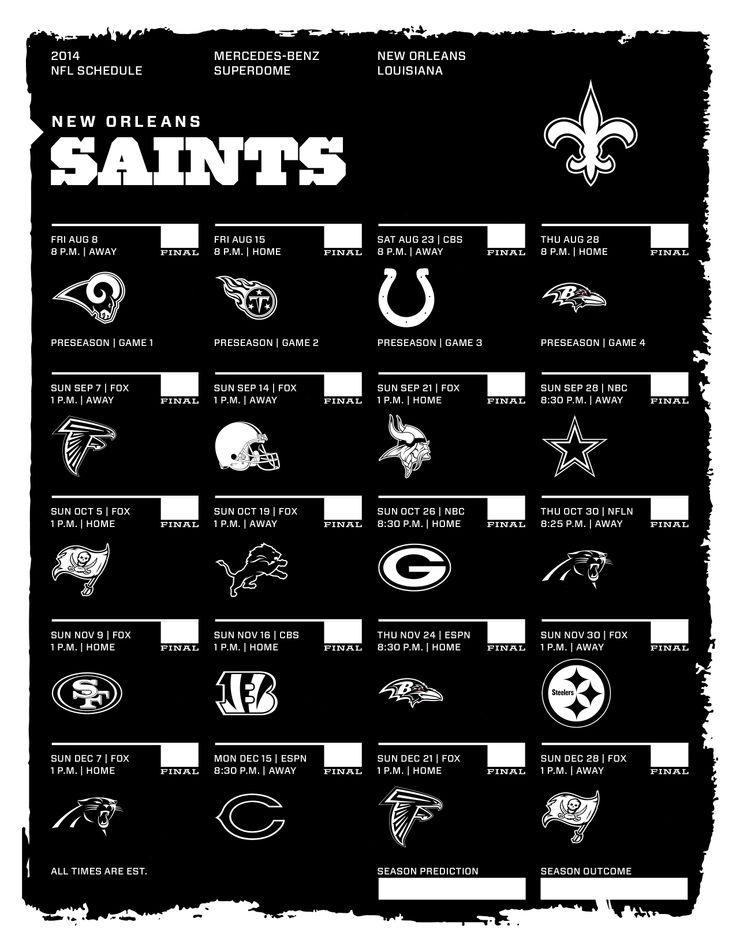 New Orleans Saints 2014 NFL Schedule