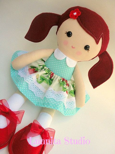 Handmade cloth doll... Eco-Friendly Doll... sweet ragdoll...I love my shoes on Etsy, $32.00