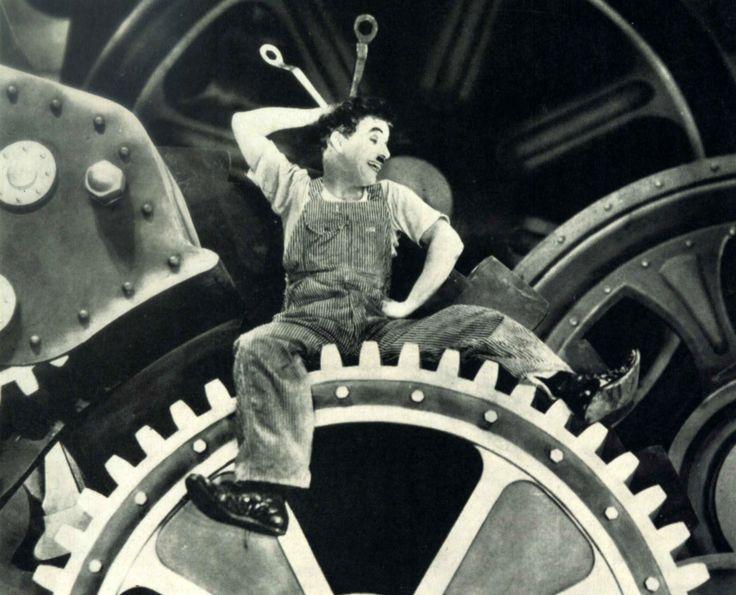 "Charles Chaplin en ""Tiempos Modernos"" (Modern Times), 1936"